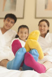 Family with Multi Colored Socks Royalty Free Stock Images