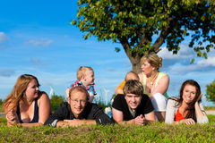 Family and multi-generation - fun on meadow. Family and multi-generation - mother, father, children and grandmother having fun on meadow in summer Stock Images