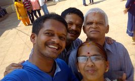 Family murudeshwara temple seashore eshwara Stock Photo