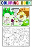 Family of mushrooms in the forest coloring book for children cartoon illustration. White, black and color. Fairy mushrooms in the forest coloring book for Stock Image
