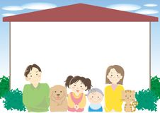 Family and my home frame vector illustration