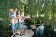 Family and Nature. Happy family outside, spending time together. Nature walks and parks royalty free stock image