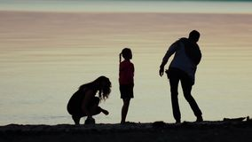 Family on nature. The family on the beach. Family at sunset. stock video