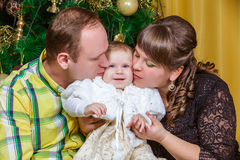 Family near The Christmas Tree Royalty Free Stock Photo