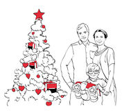 Family near the christmas tree. Family with a kid near the christmas tree vector illustration
