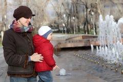 Family near the fountain Stock Photography