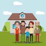 Family near house residential Royalty Free Stock Images