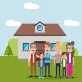 Family near house residential. Illustration eps 10 Stock Photo