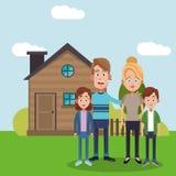Family near house residential. Illustration eps 10 Stock Photos