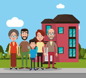 Family near house residential. Illustration eps 10 Royalty Free Stock Photography