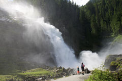 Family near Krimml Waterfalls in Austria Stock Photos