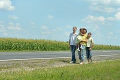 Family near road Stock Photography