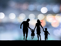 Family in the neon background. Royalty Free Stock Photography
