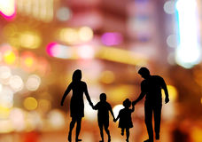 Family in the neon background. Stock Image