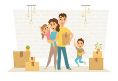Family in new home Stock Images