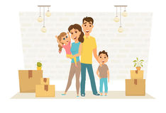 Family in new home Stock Image