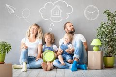 Free Family New Home Moving Day House Concept Stock Images - 140223444