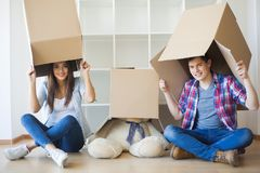 Family New Home Moving Day House Concept.  Royalty Free Stock Images