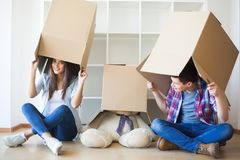 Family New Home Moving Day House Concept.  stock photography