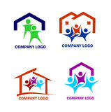 Family in a new house logo. House and happy family logo and web icons stock illustration