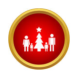 Family new year icon, simple style Royalty Free Stock Photography