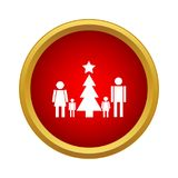 Family new year icon, simple style. Family new year icon in simple style in red circle. Holidays symbol vector illustration