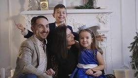 Family new year photo shoot flash light stock footage