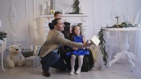 Family new year photo shoot flash light stock video footage