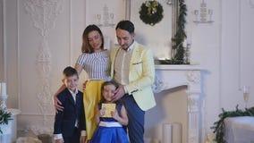 Family new year photo shoot flash light stock video
