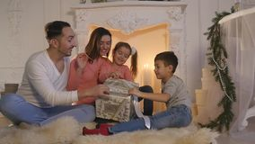 Family new year photo shoot flash light stock footage