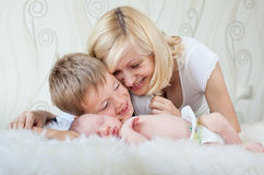 Family with newborn baby at home Royalty Free Stock Photography