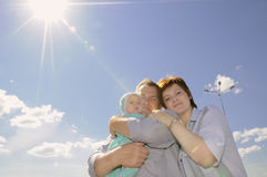 Family with newborn baby outdoors Royalty Free Stock Images
