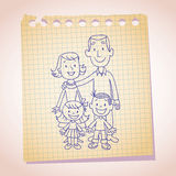 Family note paper sketch Royalty Free Stock Images