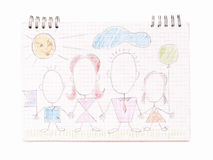 Family on the notebook sheet Royalty Free Stock Photos