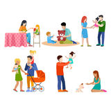 Family nursing babysitting young people parents pa Royalty Free Stock Photo