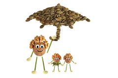 Family nuts under the umbrella Stock Photography