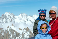 Family and Mont Blanc mountain massif behind (France ) Royalty Free Stock Images