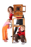 Family and obsolete camera Stock Photo