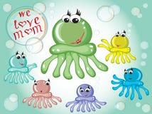 Family octopuses Stock Photos