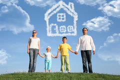 Family Of Four Dreams About The House, Collage Stock Image