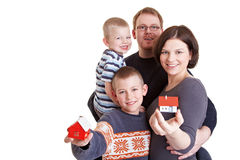 Family offering real estate Royalty Free Stock Photos
