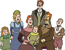Family - Old Family. Old Happy Family cartoon artwork line-art Royalty Free Stock Images
