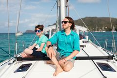 Free Family On Board Of Sailing Yacht Royalty Free Stock Photos - 124127818