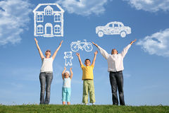 Free Family On Grass With Hands Up And Dream, Collage Royalty Free Stock Photo - 12263655