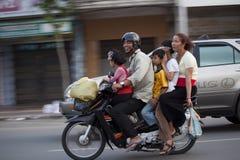 Family On Motorbike In Phnom Penh, Cambodia Royalty Free Stock Photo