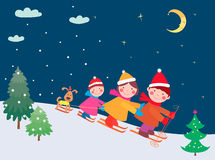 Free Family On The Skis Royalty Free Stock Photography - 44153387