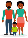Family with one child, a son. African-American family. African ethnic people. White background. Flat vector illustration Royalty Free Stock Images