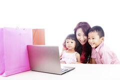 Family online shopping Stock Images