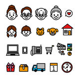 Family online shopping icons Royalty Free Stock Images