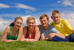 Family outdoor. Together on sunny day Stock Photos
